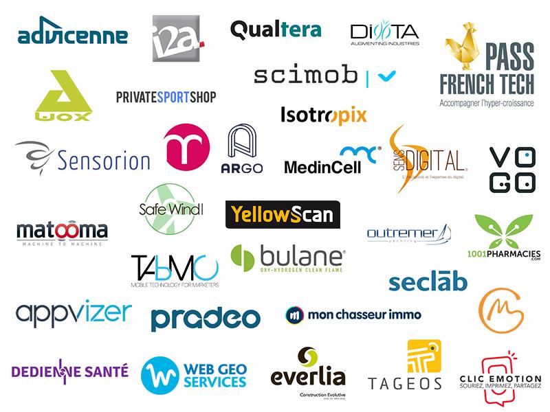 Logos des entreprises du Pass French Tech Montpellier